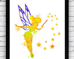 disney tinkerbell print fairy print watercolor tinkerbell wall