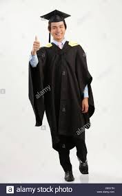 graduation gown length of the in the graduation gown stock photo