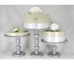 wedding cake plates 3 silver cake stands set wooden rhinestone party cupcake
