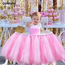 Decorating Chair For Baby Shower Aliexpress Com Buy Ourwarm Tutu Tulle Table Skirts High Chair