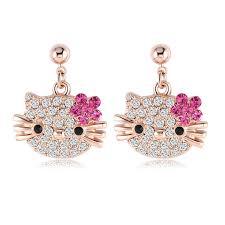 fabulous earrings fabulous pink cat with flower stud earrings for my