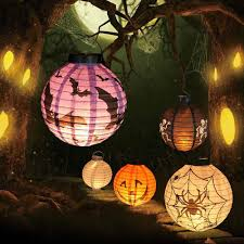Halloween Led Paper Pumpkin Ghost Hanging Lantern Light Holiday