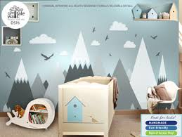 Cheap Wall Decals For Nursery Mountain Wall Decal Nursery Mountains Stickers Entire Wall