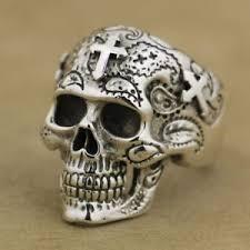 skull gothic rings images 925 sterling silver skull cross rings mens biker gothic ring punk jpg