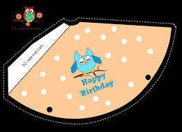 free printable cute owl birthday party hats