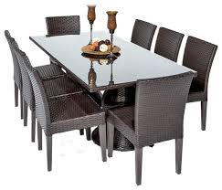 saturn outdoor dining table with armless chairs 9 piece set