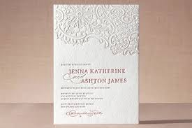 white lace letterpress wedding invitations by chism minted