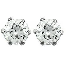 magnetic stud earrings stainless steel magnetic stud earrings 6mm clear cz