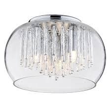 3 Light Ceiling Fixture Flush Glass Ceiling Light With Bowl Shade 3 Light Chrome From