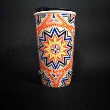 rare starbucks double wall mug summer 2017 orange sunburst hippies