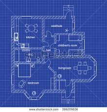 blueprint floor plan blueprint floor plan modern apartment on stock vector 398832934
