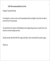self recommendation letter sample 8 examples in word pdf