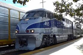 Amtrack Amtrak Pacific Surfliner With 455 Emd F59phi Overtakes Freighter