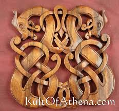 1504231650 carved wood viking dragons plaque 70 95
