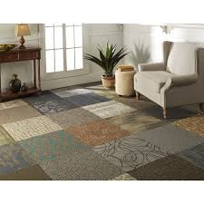 mixed carpet tiles give an eclectic quilt look carpet tiles