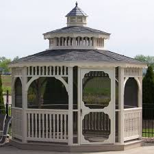 amish vinyl screened patio and garden gazebos kit in 8 16 ft