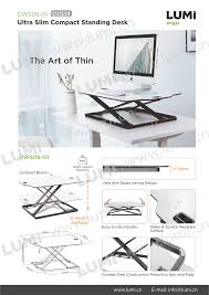 Foldable Laptop Desk by Ultra Slim Height Adjustable Small Office Move Standing Desk