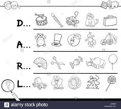 cartoon illustration of finding picture which start with referred