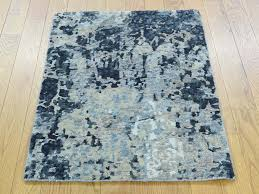 Modern Silk Rugs 2 X3 Knotted Abstract Design Wool And Silk Modern