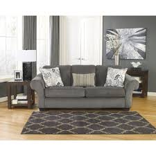 signature design by ashley makonnen charcoal fabric sofa by