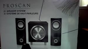 2 1 home theater speaker system amazon com proscan 2 1 speaker system phtib044 pl electronics