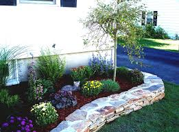 bedroom awesome designed rock garden and flower bed border idea