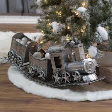 36 in silver metal holiday train hayneedle