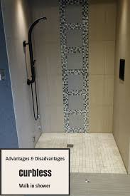 advantages and disadvantages curbless walk shower advantages and disadvantages curbless walk shower lodge bathroomdownstairs bathroomtile bathroomsbathroom remodelingsmall
