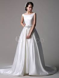 Chapel Train Wedding Dresses Satin Ball Gown Bateau Chapel Train Wedding Dress With Beaded Belt