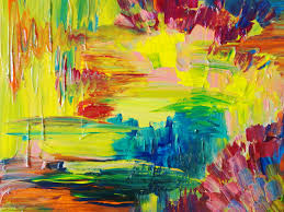 abstract acrylic painting bright bold color 16 x 20 free shipping