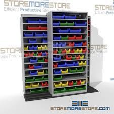 Narrow Storage Shelves by Rolling Shelves For Small Parts Cardboard U0026 Plastic Bin Storage