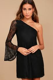 black dress lace dress one shoulder dress