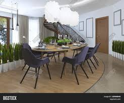 luxury dining room in a contemporary style with a large dining