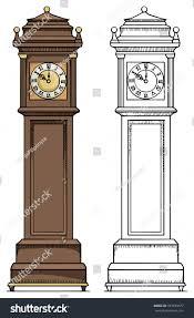 Grandpa Clock Old Vintage Clock Colored Black White Stock Vector 183993677