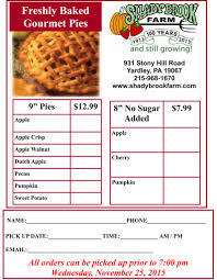 turkey and pie order form shady brook farm