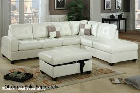 lovable white leather sectional couch poundex reese f7359 white