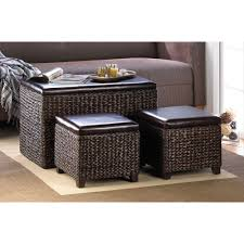 coffee table livingroom storage unit dark chocolate wicker