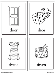 letter d words and pictures printable cards door dice dress