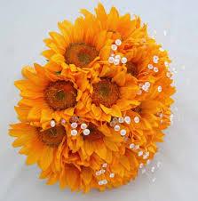 Sunflower Bouquets Bridesmaids Golden Silk Yellow Sunflower U0026 Crystal Wedding Bouquet