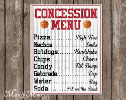 basketball party table decorations sports concession menu basketball party decor basketball