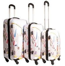 New York travel suitcase images 2408 new york white multicolour set of 3 suitcases 4 wheels jpg