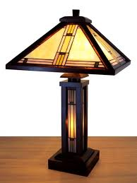 Tiffany Table Lamp Shades Wood Lamp Base Mission Mission Wood Stained Glass Tiffany Table
