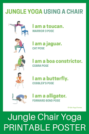 Chair Yoga Poses 5 Jungle Yoga Poses Using A Chair Download The Printable Poster