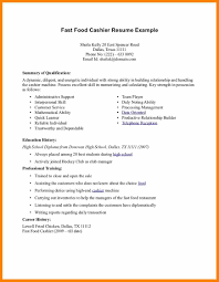 Resume Examples For Cashier Positions 6 Fast Food Resume Sample Character Refence