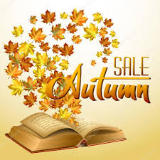 autumn vector background with leaves in the old open book sale