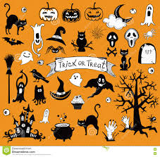 happy halloween designs set with various elements of holiday stock
