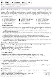 Patient Care Technician Sample Resume Physician Assistant Resume Template Gfyork Com
