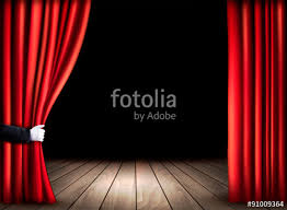 Stage With Curtains Theater Stage With Wooden Floor And Open Red Curtains Vector