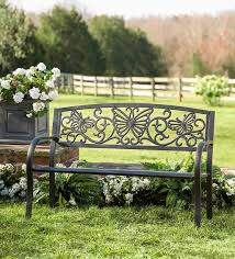 Steel Garden Bench Plow U0026 Hearth Butterfly Scroll Metal Garden Bench U0026 Reviews Wayfair