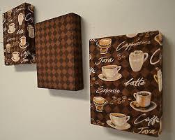 coffee kitchen decor ideas coffee theme fabric wall hanging set of 3 6 x8 ea cappachino